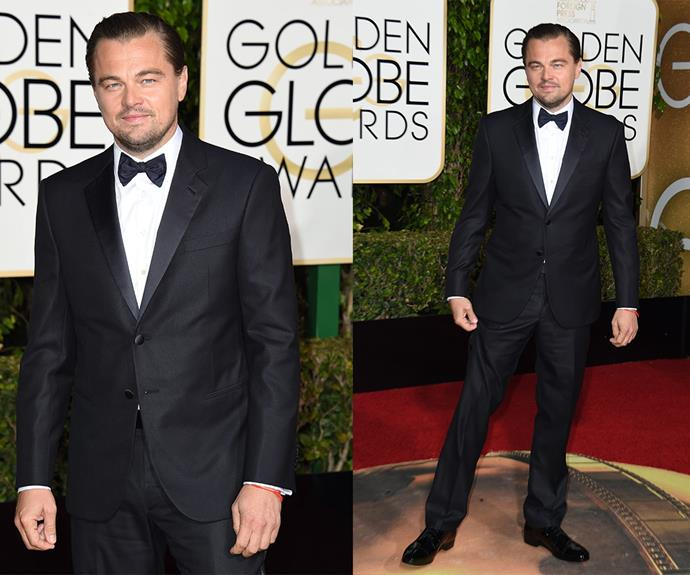 [The newly-single](http://www.womansday.com.au/celebrity/hollywood-stars/leonardo-dicaprio-and-kelly-rohrbach-have-split-14394) star flew solo on the red carpet.