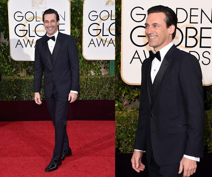 Going out with a bang! *Mad Men* star Jon Hamm won the Globe for Best Actor in a TV Drama.