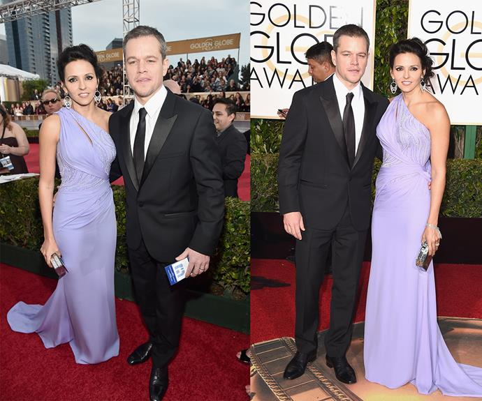 [Matt Damon,](http://www.womansday.com.au/celebrity/hollywood-stars/ricky-gervais-jokes-about-ben-affleck-cheating-at-golden-globes-14441) who won the Globe for Best Performance by an Actor in *The Martian*, was joined by his wife Luciana Barroso.