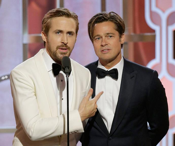 He didn't walk the red carpet but Brad Pitt made sure to bring all the funny as he took to the stage with his *The Big Short* co-star co-star Ryan Gosling to present an award.