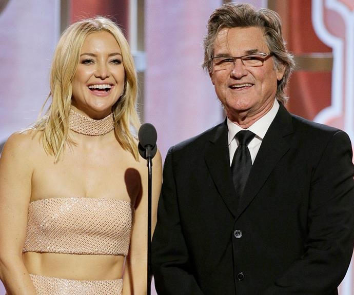 Keeping it in the family! Kate Hudson shone as she and Kurt Russell presented an award.