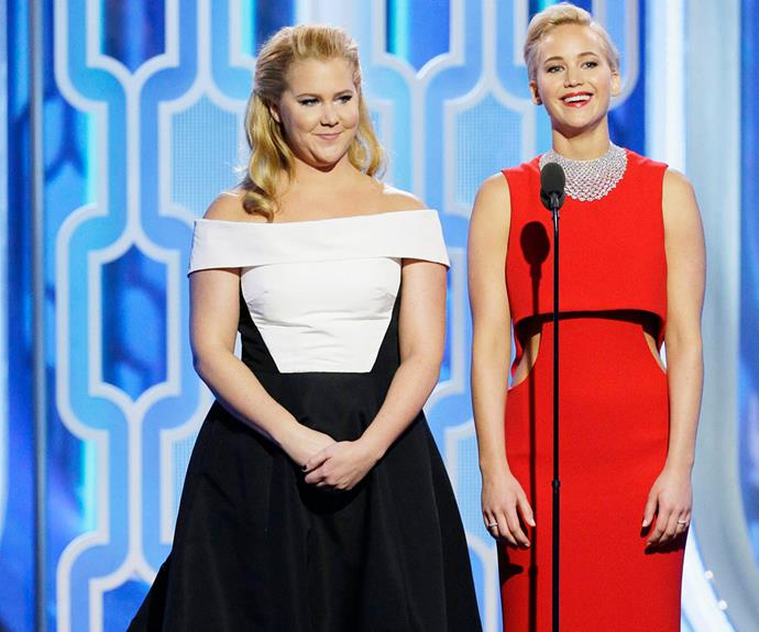 """Jennifer Lawrence and Amy Schumer joked about their Hollywood nicknames, with the *Trainwreck* star quipping she'd be called """"Amy all-the-Hemsworths."""""""