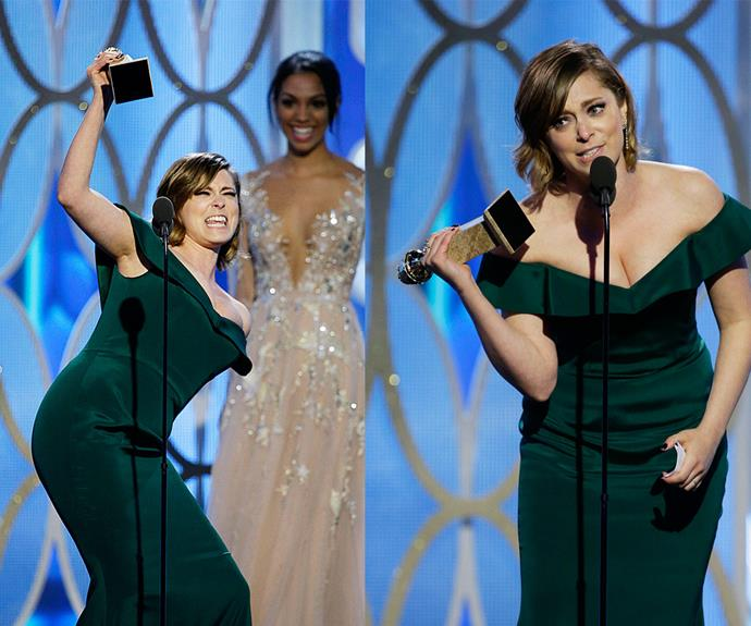 Not so crazy now! Rachel Bloom was overwhelmed when she scored the Globe for the Best Actress - TV Series, Comedy or Musical for *Crazy Ex-Girlfriend.*