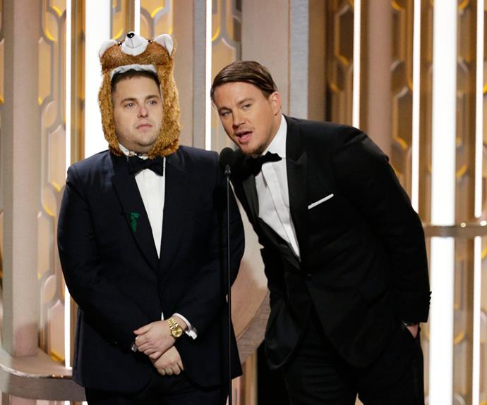 Channing Tatum managed to keep a straight face while Jonah Hill wore a bear spirit hood.