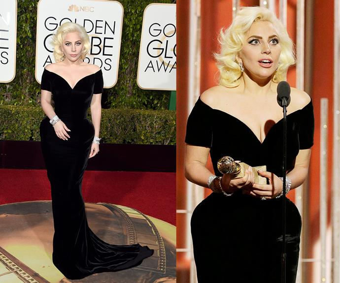 "In 2016, Lady Gaga picked up the best actress in a series for her role in *American Horror Story* and she looked every inch the winner in this figure-hugging black velvet Atelier Versace dress. The padded hips and off-the-shoulder cut give us major [Marilyn Monroe vibes.](https://www.nowtolove.com.au/news/viral-news/silver-screen-sirens-and-leading-lads-of-yesteryear-30019|target=""_blank"")"