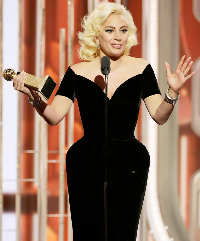 """Gaga was """"speechless"""" as she accepted her award."""