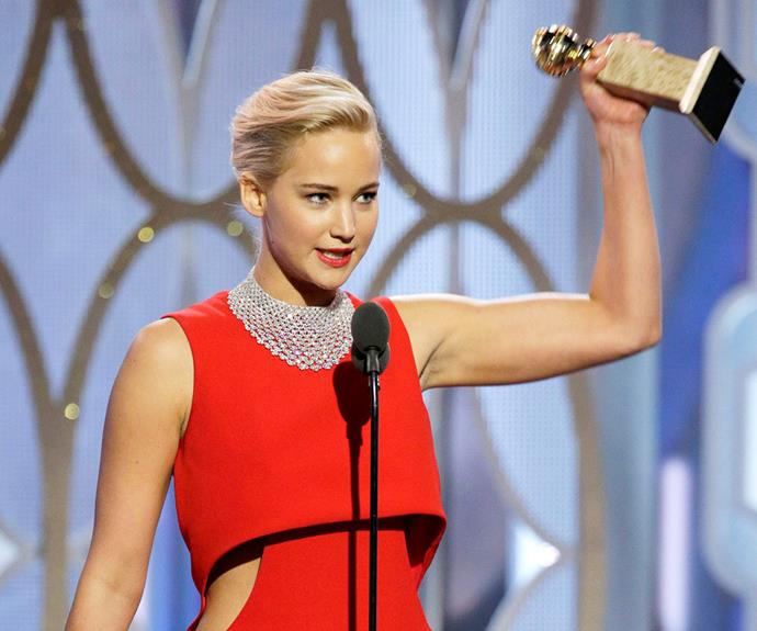 """""""It was such an honour to play this character,"""" Jennifer beamed during her acceptance speech for her role in *Joy*."""