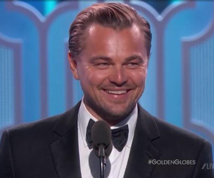 """Leonardo DiCaprio was overcome with emotion as he accepted the award for the Best Performance by an Actor in a Motion Picture thanks to his role in *The Revenant.* """"Wow! Thank you! What an incredible honour. That meant a lot."""""""