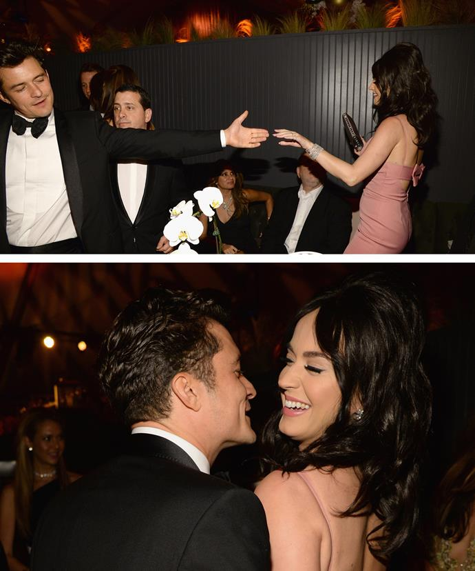 What's so funny? Orlando's dance moves have got Katy all giggly.