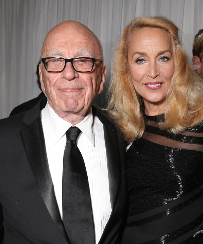 Their smiles say it all! On Sunday Jerry and Rupert attended the Golden Globe Awards in LA together. The day after they  announced their big news in *The Times*.