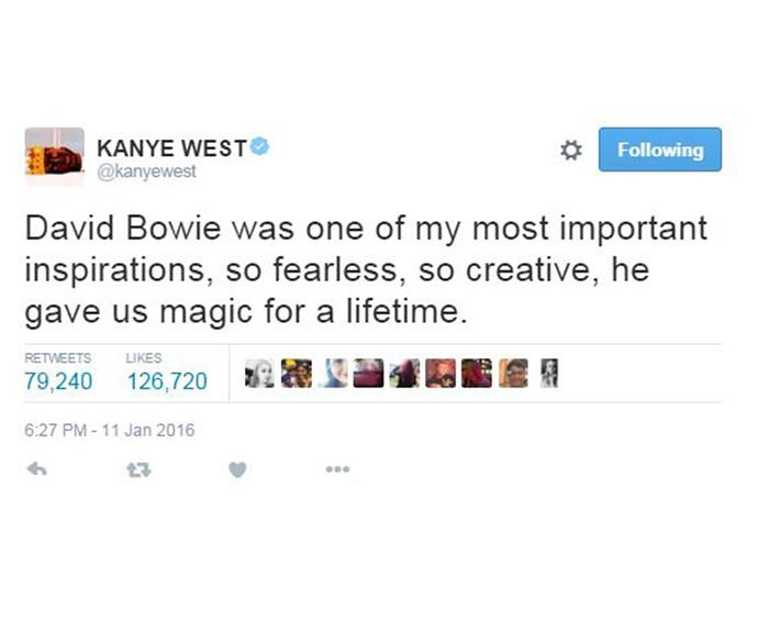 """Rapper Kanye West said the father-of-three """"gave us magic for a lifetime."""""""