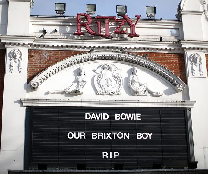 """The Ritzy Cinema in David Bowie's old stomping ground of Brixton left this touching message to """"our Brixton boy."""""""