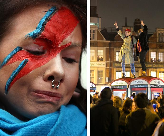 A fan sports the singer's iconic lighting bolt face paint while other revelers dance on the top of phone boxes as the crowd erupts into an impromptu rendition of *Starman*.
