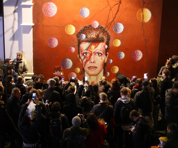 Many well-wishers have gathered outside the stunning work of art to remember the man that changed music.