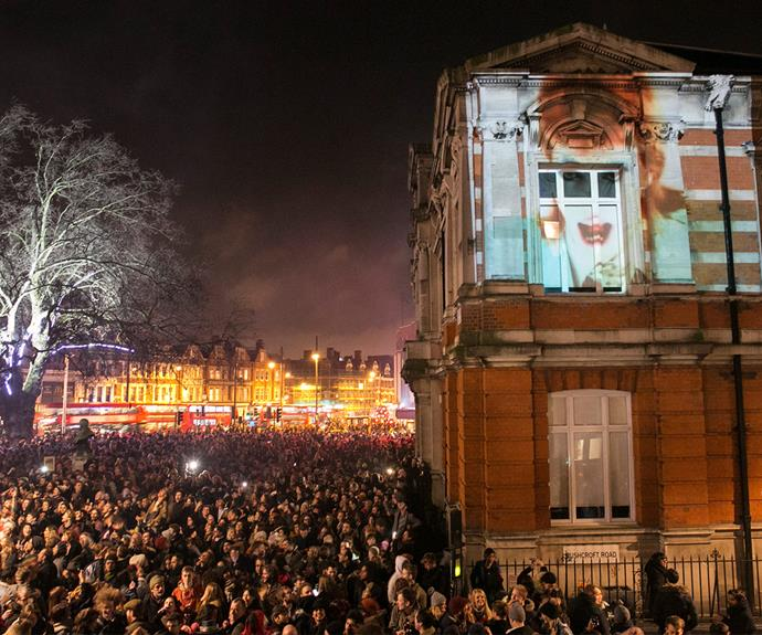 Up in lights: The star's face was projected on the walls of the Ritzy Cinema in Brixton.