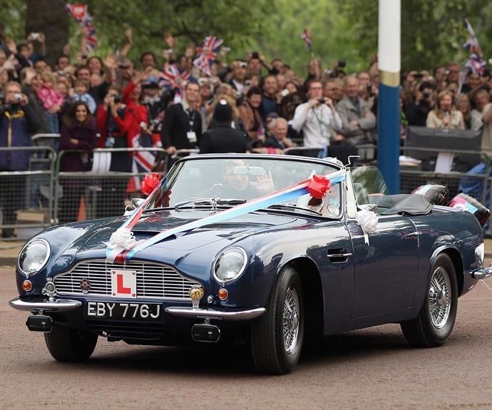 Flashback: Prince William drove to his wedding reception in this vintage Aston Martin sports car in 2011.