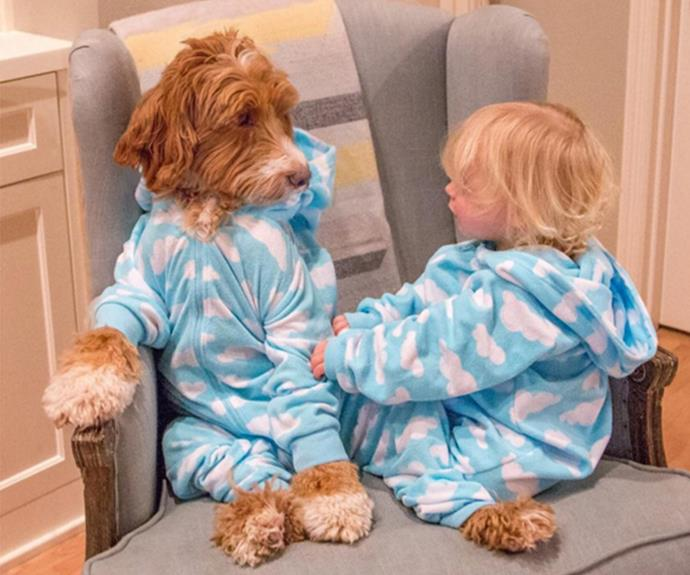 """He loves to match his buddy's outfits. """"Reagan's sweet little buddy and best friend is my daughter's foster child - they adore each other,"""" his proud owner explained of the inseparable pair."""