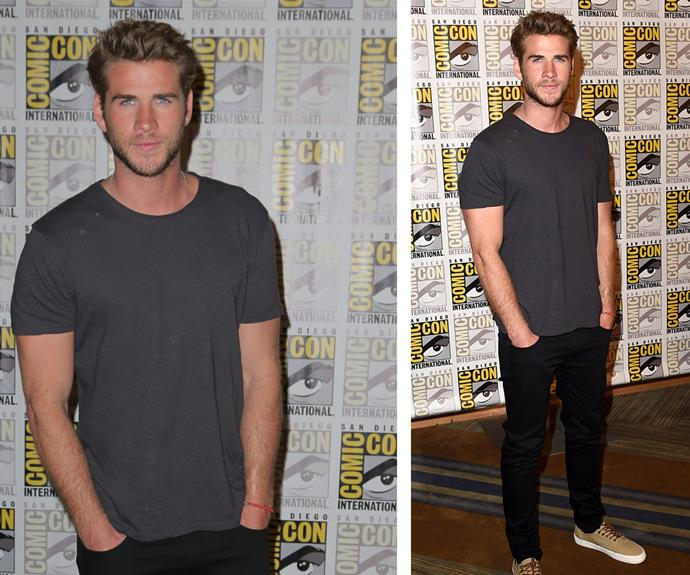 How is it humanly possible for one man to make a simple grey T-shirt and skinny black jeans look THIS good. Liam gets his smoulder on at the 2015 Comic-Con in San Diego.