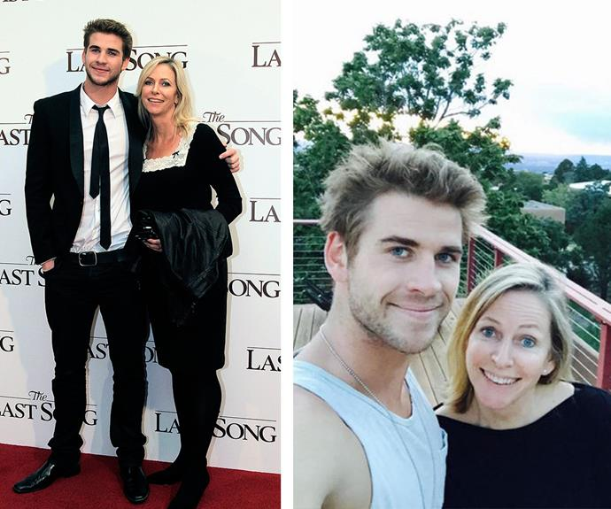 """A man who loves his mum is a keeper! In 2012, Liam's mother Leonie was his date to *The Last Song* premiere (L) and today (R) he describes her as """"the best mum in the word."""" Be still our beating heart."""