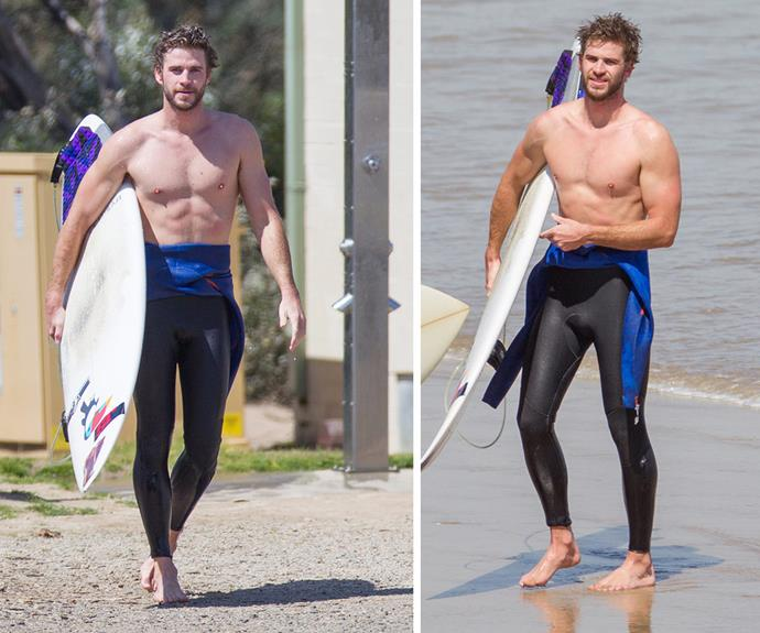 Liam (and his abs) enjoy a surf at his hometown in Philip Island, Victoria. 'Scuse us while we take a little rest to recover from this spectacular sight.