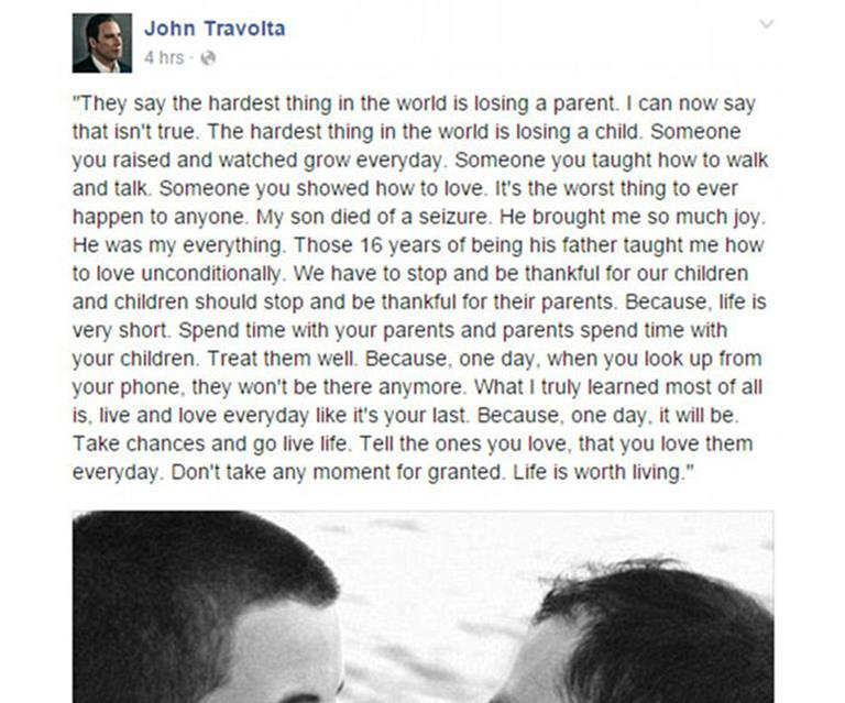 John Travolta remembers his late son Jett on Facebook