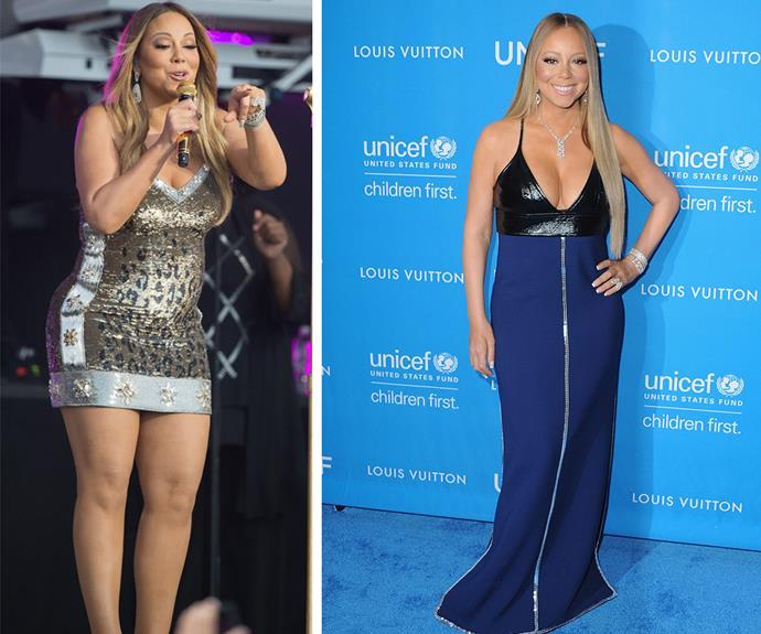 Then and now: In May 2015 (L) the singer had a more shapely figure and on Tuesday (R) she showed off her trim and toned body.