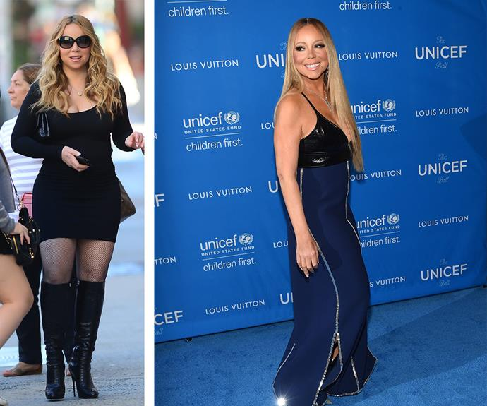 Just four months ago (L) Mariah looked totally different!