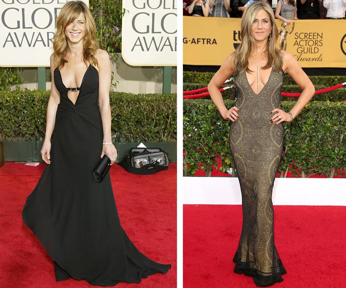 Time has stood still for Jen. Pictured on the left in 2004, Jen was renowned for her enviable figure. The actress made jaws drop when she showed off her curves at the 2015 at the SAG awards (R).