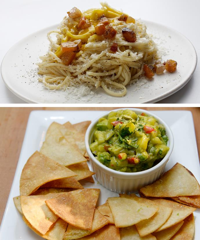 Yum! The 46-year-old counts carbonara and tortilla chips as her vices.