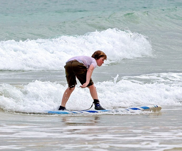 Go Bob! The youngest child of the late Steve Irwin took to the waves like a pro.