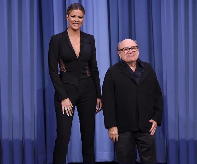 """Khloe Kardashian has found an eccentric new friend... Danny Devito! The pair joined forces for a round of charades on Jimmy Fallon's *The Tonight Show*. While the pair couldn't exactly keep up with the funny host it was clear the duo had a good time. The 31-year-old took to Instagram, penning, """"Have you seen the movie Twins?!?! With Arnold Schwarzenegger and Danny DeVito?! I'm Arnold.... Danny plays himself!"""" Check out the pair try to play charades in the next slide."""