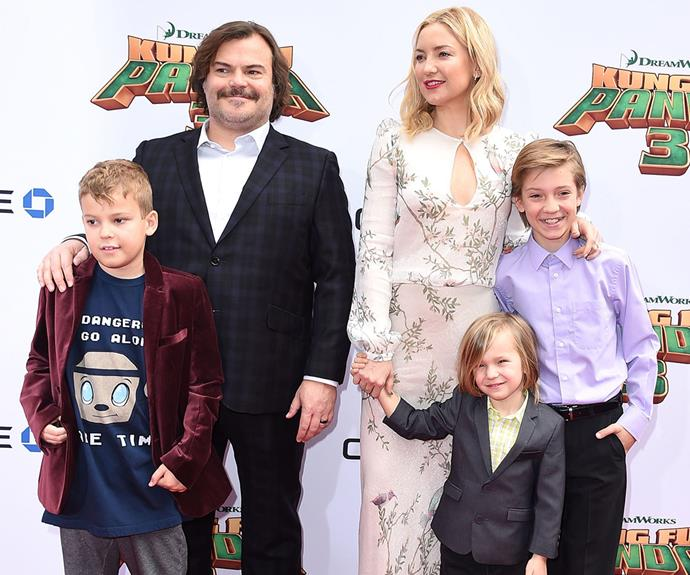 Kate and her kids posed with her Kung Fu Panda 3 co-star Jack Black and his son Samuel.