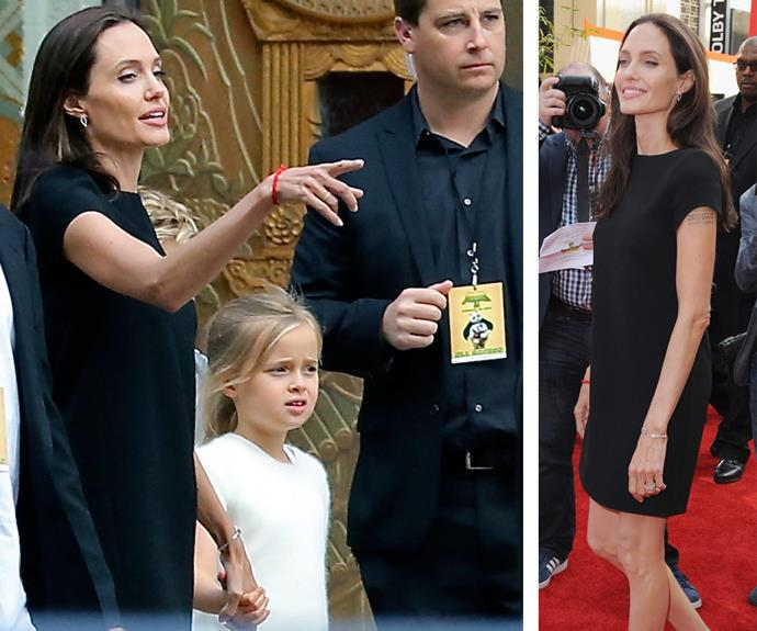 Angelina, pictured with daughter Vivienne, opted for a chic little black dress.