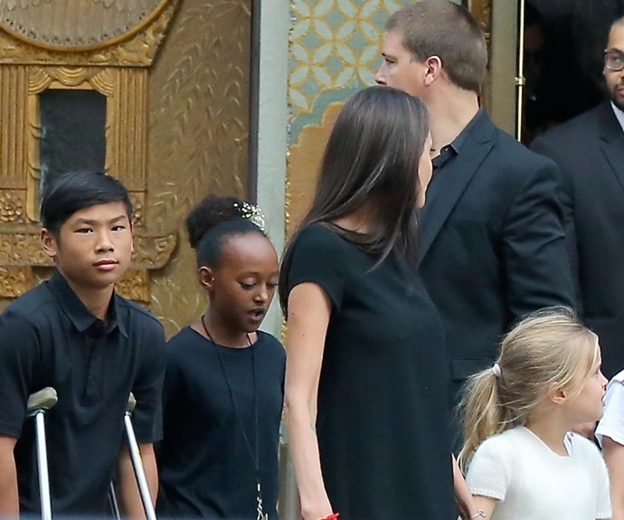 Angelina Jolie's brought along her Pax, 12, Zahara,11, Shiloh, nine, and her twins [Knox and Vivienne, seven.](http://www.womansday.com.au/celebrity/hollywood-stars/brad-pitt-and-angelina-jolie-take-out-vivienne-and-knox-14047) Pax was seen on crutches following his recent leg injury in Thailand.