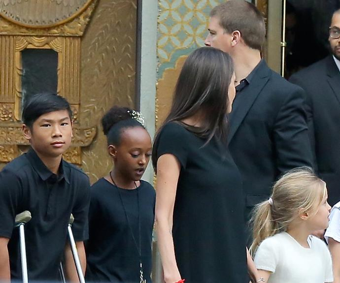Angelina Jolie brought along her children Pax, 12, Zahara,11, Shiloh, nine, and her twins Knox and Vivienne, seven. Pax was seen on crutches following his recent leg injury in Thailand.