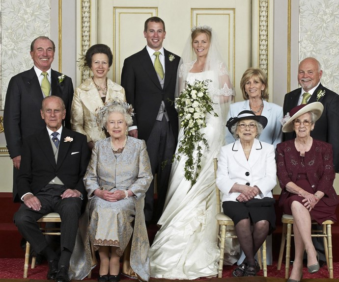 The official wedding group photo Peter Phillips and wife, Autumn's big day back in May 2008.