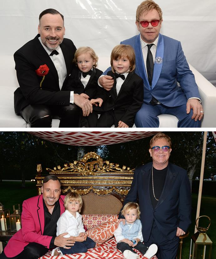 Elton and David with their boys.