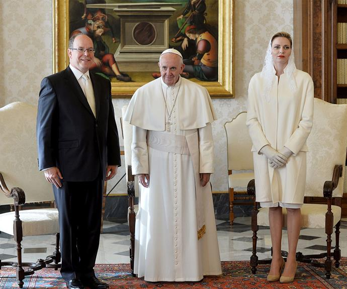 On Monday, Princess Charlene and Prince Albert of Monaco met with Pope Francis at the Apostolic Palace in the Vatican City.