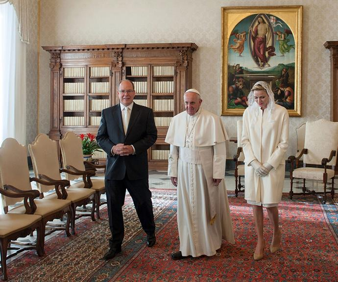 "Charlene is one of seven exclusive royals who are allowed to wear white when meeting the Pope - which is known as ""privilège du blanc"" in French."