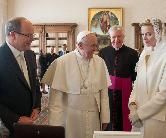 Sharing a laugh: the 79-year-old Pope of the Roman Catholic Church was in good spirits as he met with the Monaco royals.