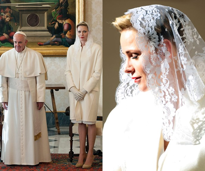 The 37-year-old looked a vision in a lace veil, white overcoat, matching leather gloves, cream pumps and a bright red lip.