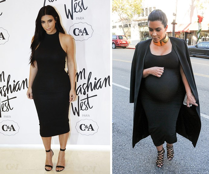 On the left, Kim is thriving in her post baby body after giving birth to daughter North West. On the right, Kim just before giving birth to son Saint West on December 5 last year.
