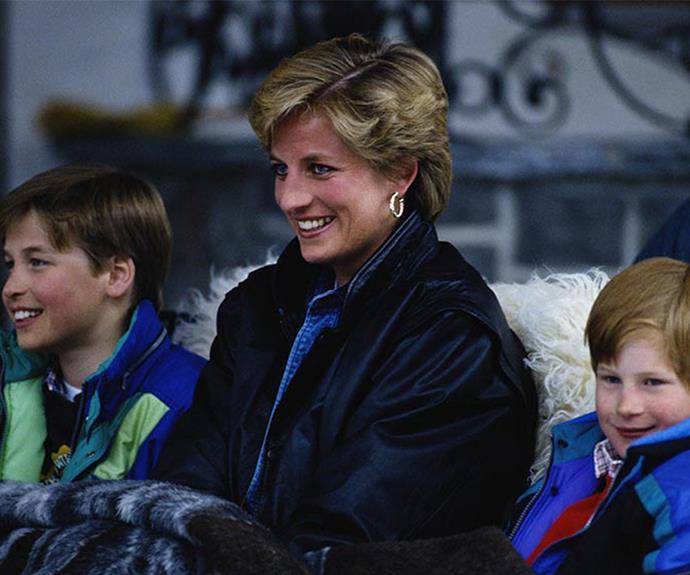Princess Diana with her two sons Princes William and Harry