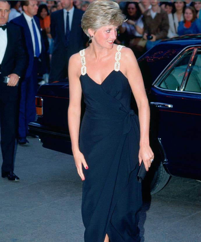 Princess Diana arriving at the *Backdraft* film premiere in London, 1991.