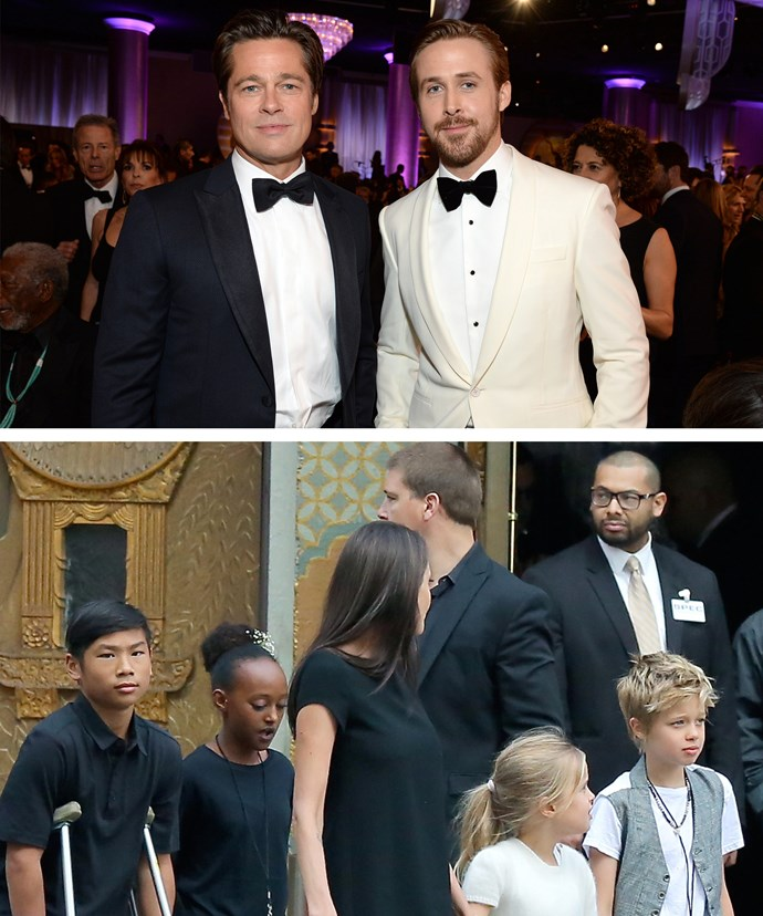 Brad went solo to the Globes, while Angie took her kids Pax, 12, Zahara,11, Shiloh, nine, and her twins Knox and Vivienne, seven, to the *Kung Fu Panda* premiere.