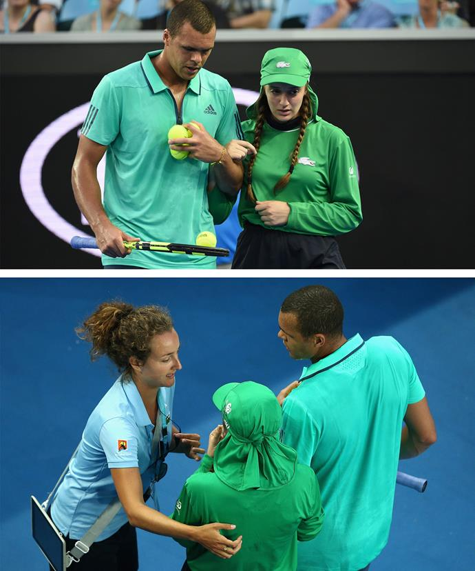 Stopping his match, Jo instantly came to the aid of the injured girl.