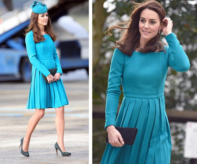 Blue us away! The 33-year-old originally showed off her pins in the teal Emilia Wickstead dress with a pleated skirt (L) in April 2014 during a visit to the Cathedral Church at St. Paul in Dunedin, New Zealand. The dress was revamped with a new haircut with Catherine wearing it in December 2015 (R) as she visited the Action on Addiction charity's Center for Addiction Treatment Studies