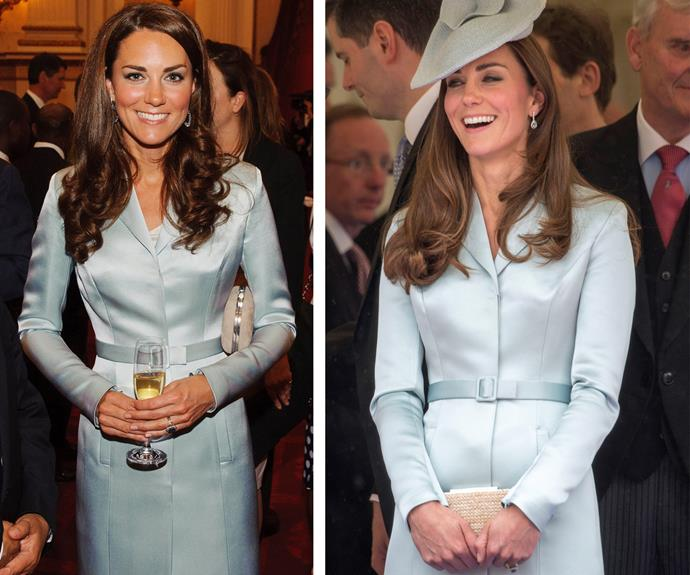 Prepare to become obsessed with Catherine's fashion philosophy: What's old is new again! The Duchess simply adores this powder blue Christopher Kane coat which she originally wore (L) in 2012 London Summer Olympic. Two years later in 2014, Catherine wore the lavish design (R) for the Order of the Garter ceremony.