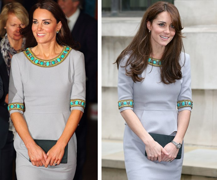 Catherine graces grey in a Matthew Williamson design. She first rocked the elegant beaded dress on April 25th 2012 (L), for the charity UK premiere of Disneynature's *African Cats*. The dress made another charitable appearance last year (R) in November while the mother-of-two continued her ongoing work with mental health issues.