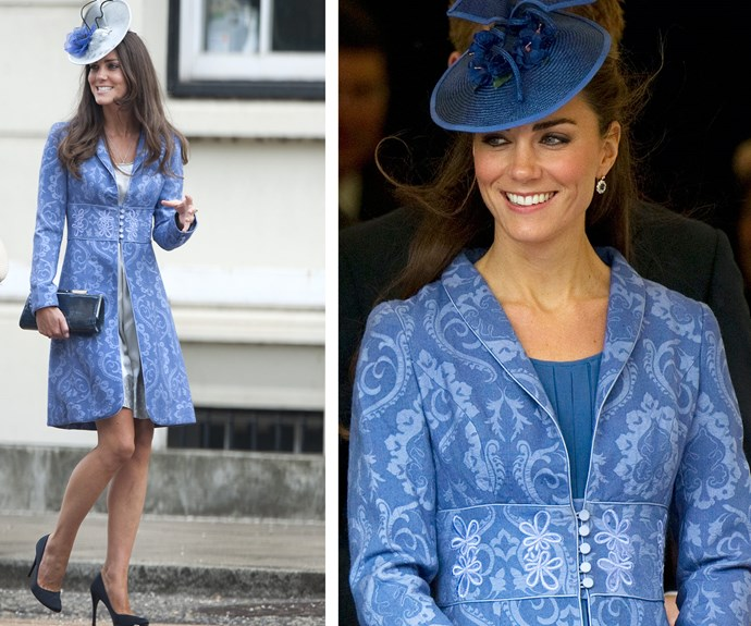 Why should only dresses ride the fashion coattails? When she was just Kate Middleton (L), she wore her Jane Troughton blue brocade coat for a friend's wedding in 2009 and then again (R) in 2011 for Price Philip's birthday party.
